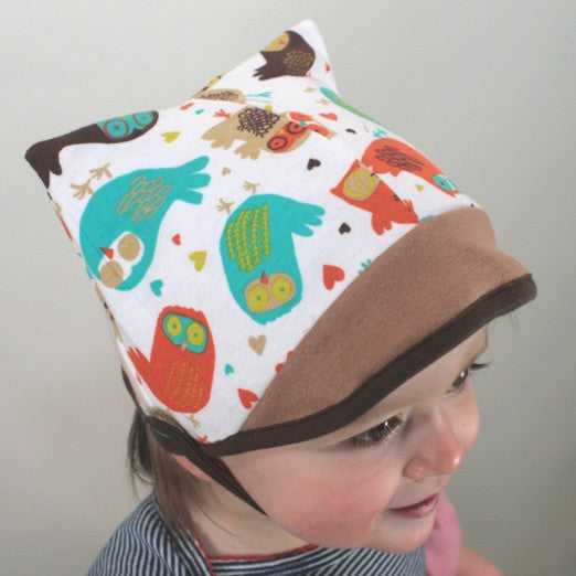 Cotton Kitty Baby Hat in Owls/Tan