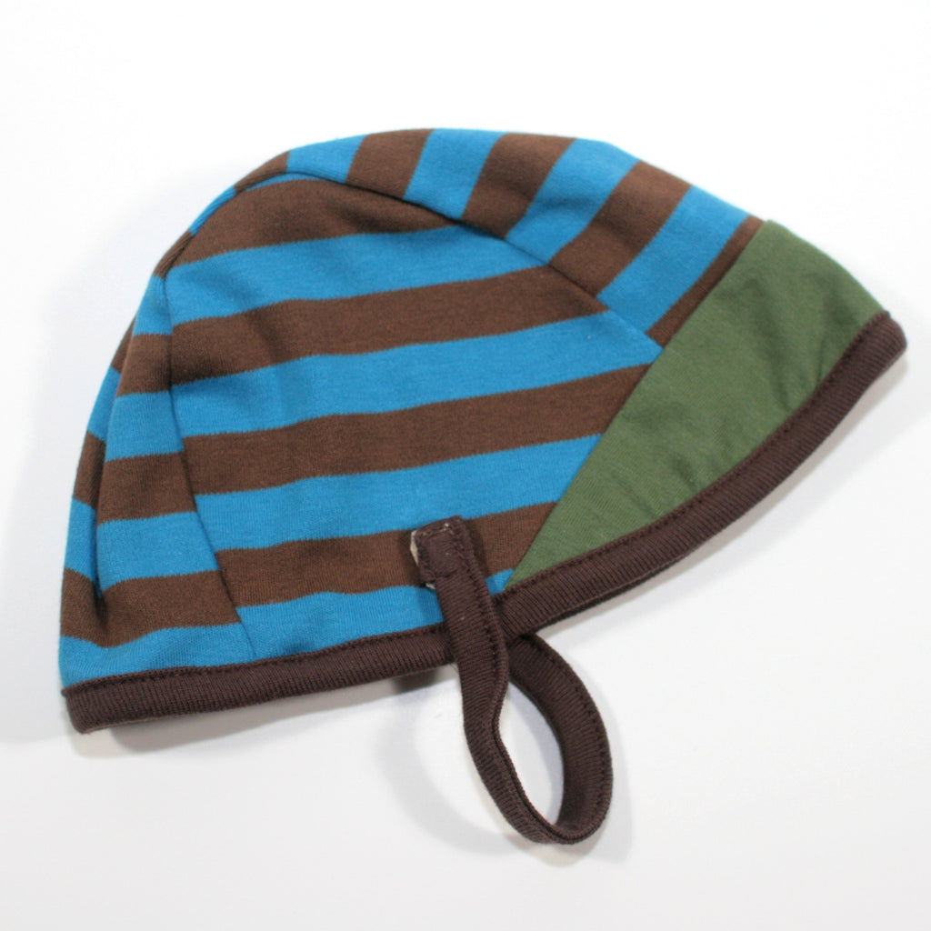 Cotton Aviator Baby Hat in Blue Stripe