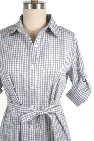 Gingham Ruffle Swing Shirtdress in Grey - Last size S!