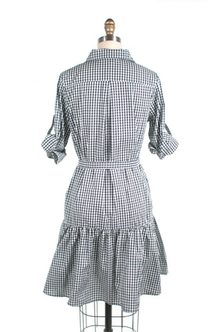 Gingham Ruffle Swing Shirtdress in Black - Last size S!