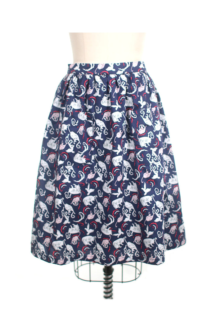 Playful Cat Skirt in Navy - Last size S!