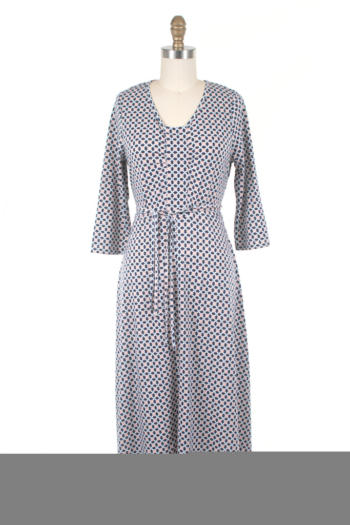 Audrey Jersey Dress in Navy/Pink- last size S!