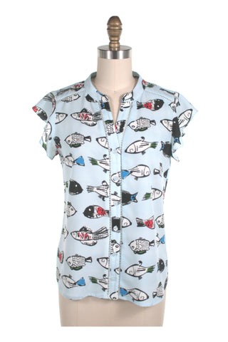 Fish Blouse in Light Blue - last size S!