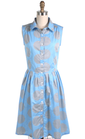 Stripe Dots Shirtdress in Lt Blue - last size S!