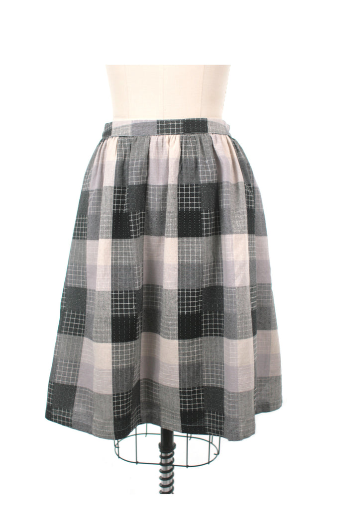 Stitch Check Skirt in Black - last size S!