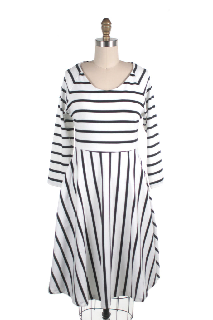 Stripe Jersey Dress in White/Black - Only size S!