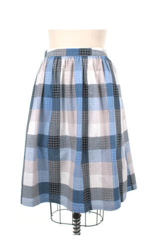 Stitch Check Skirt in Blue - last size S!