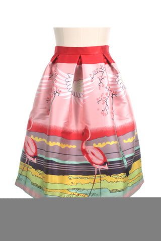 Flamingo Pleat Skirt in Pink/Red - last size S!