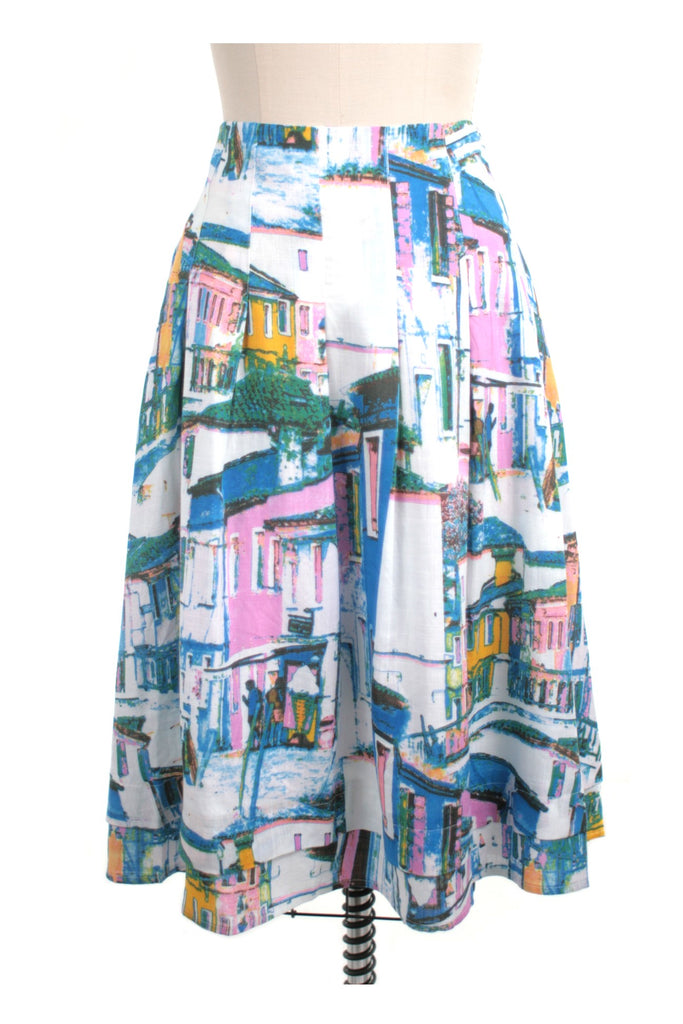 frock shop houses print skirt