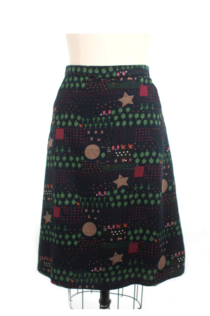 Moon Flannel Skirt in Navy - last size S!