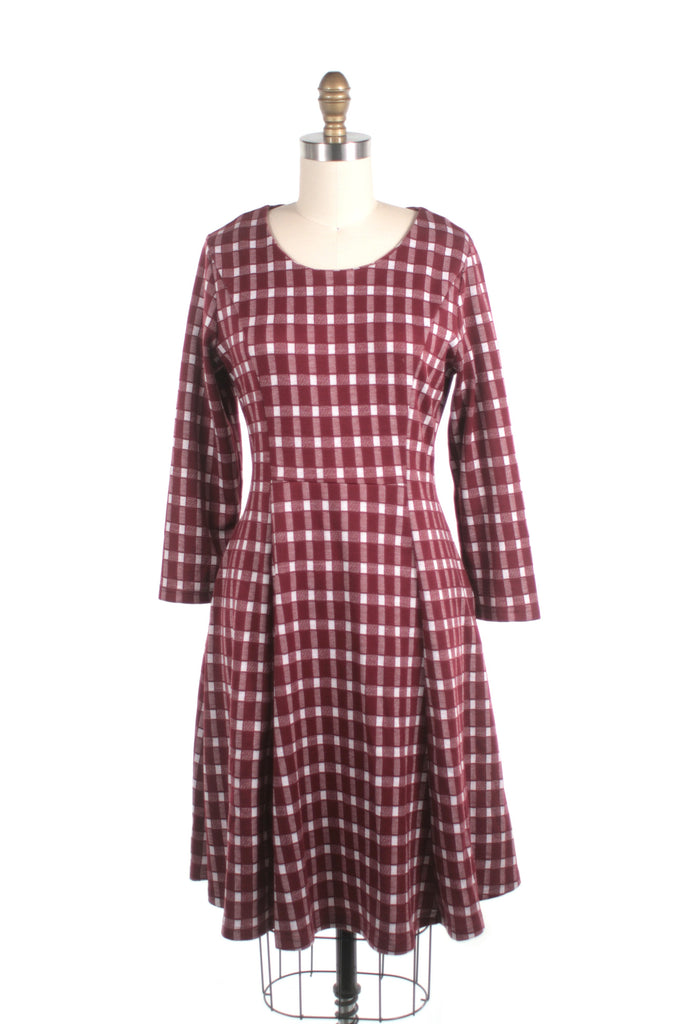 Check Knit Dress in Red - last size S!