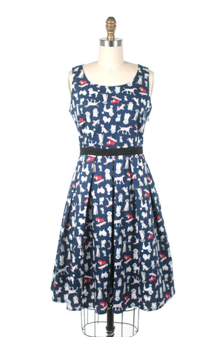 Dog Print Dress in Navy