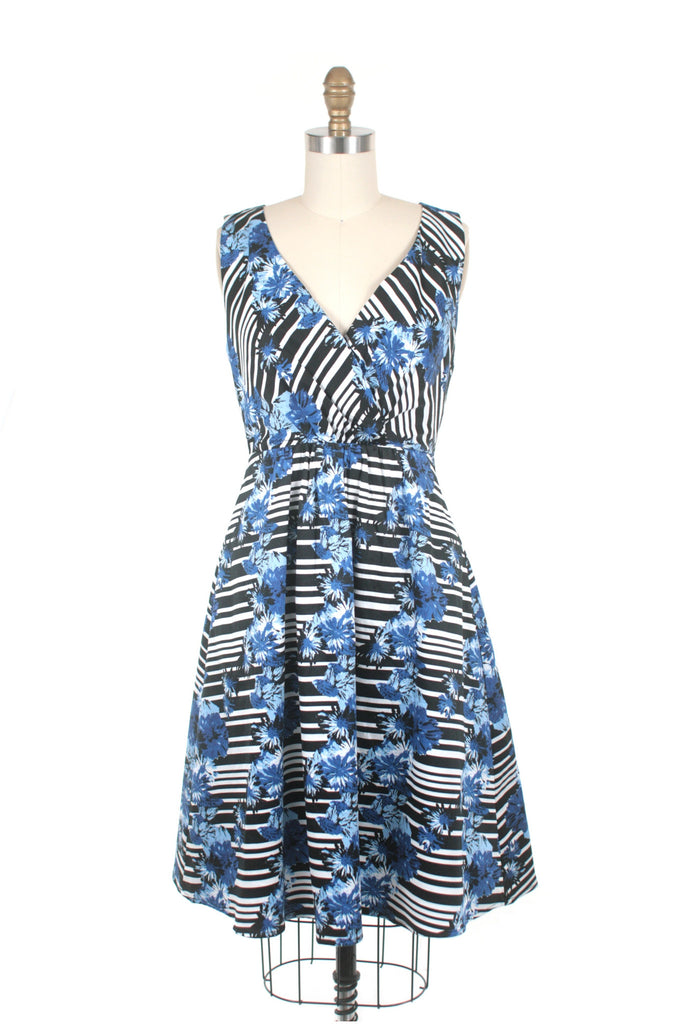 frock shop bergman stripe blue flower dress frockshop