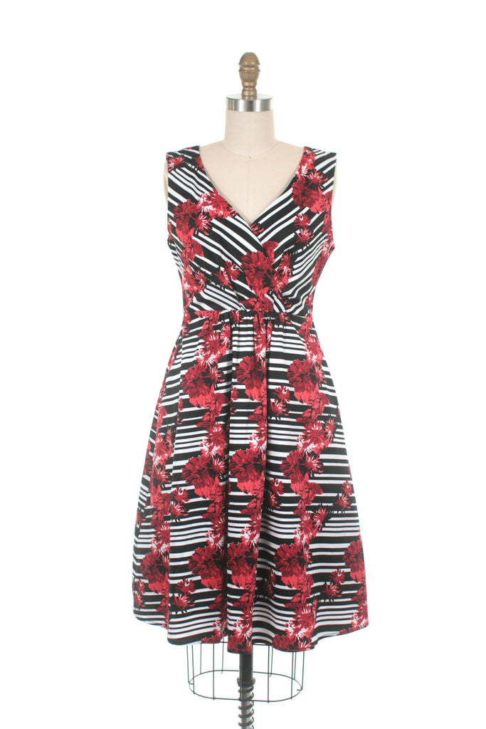 frock shop stripe red flower dress