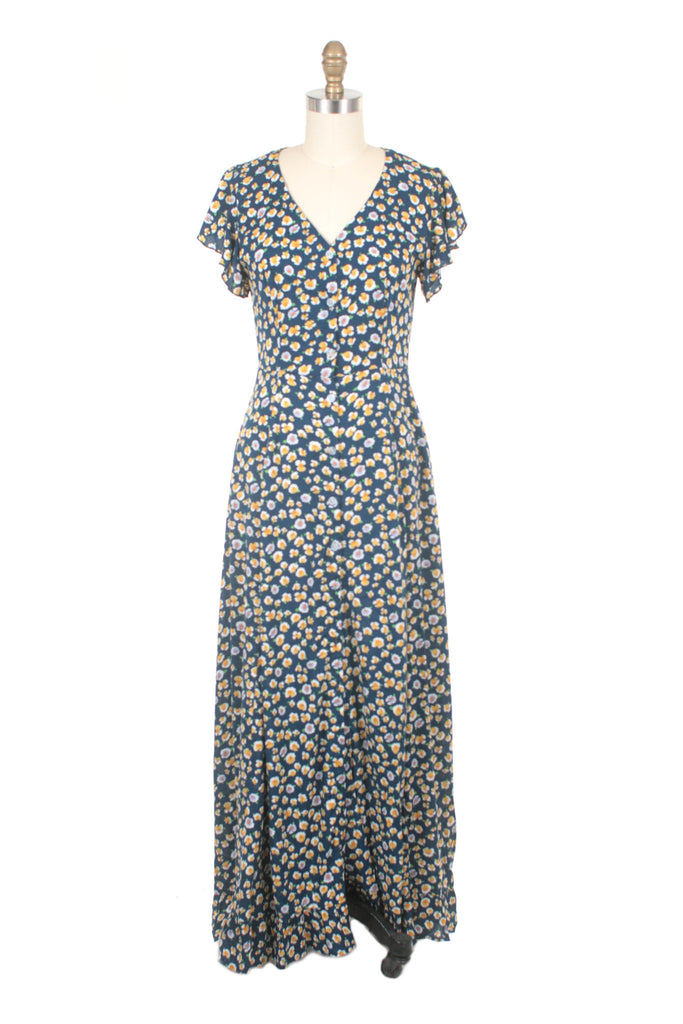 Everlane Flower Dress in Blue/Yellow
