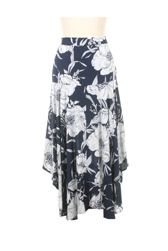 frock shop waterfall flower skirt navy frockshop
