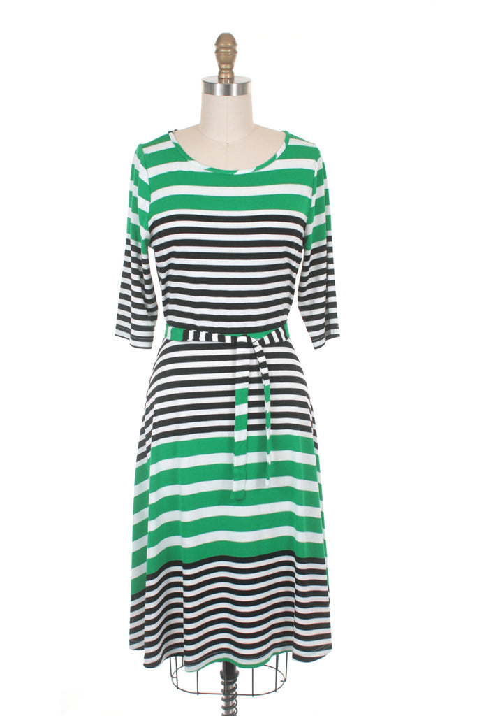 Broad Stripe Dress in Green