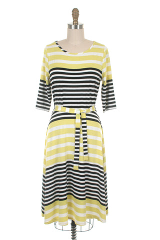 Broad Stripe Dress in Lime