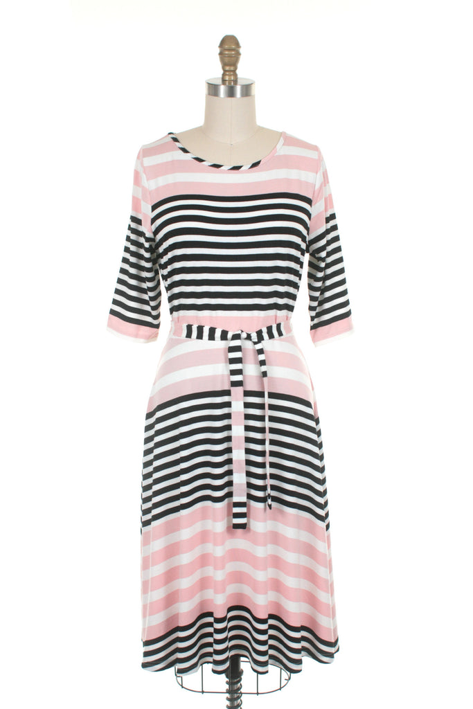 Broad Stripe Dress in Pink
