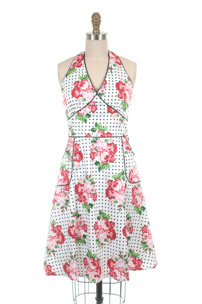 Flower Halter Dress in White/Red