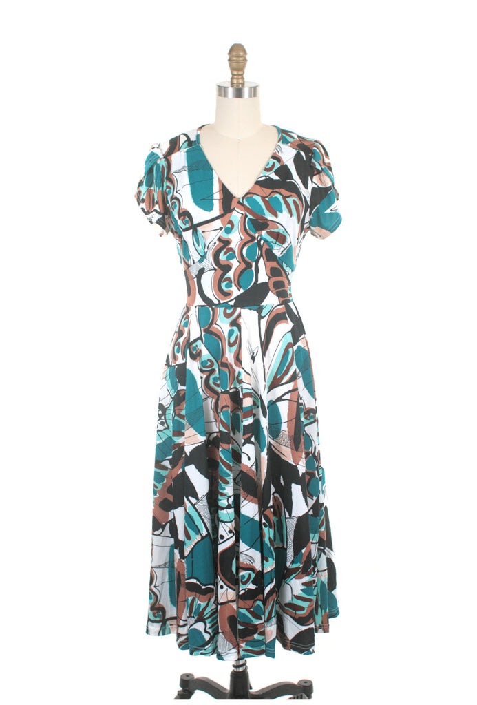 Emma jersey print teal dress