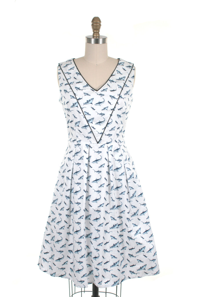 Shark Dress in White/Blue