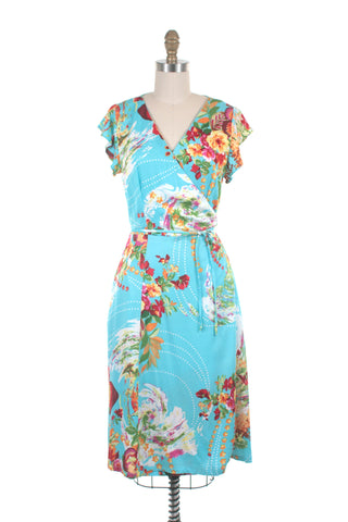 Flora Wrap Dress in Blue