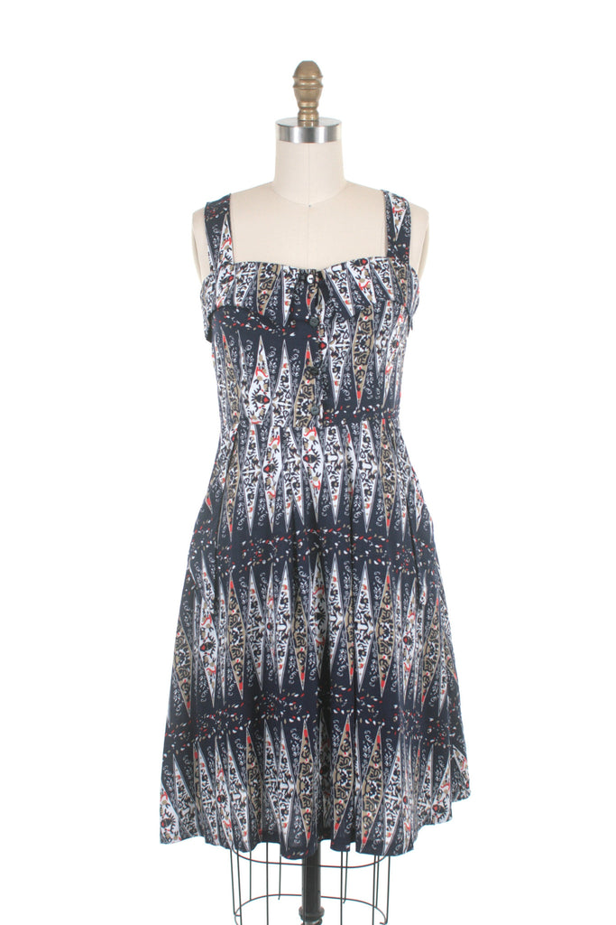 frock shop weekend vintage print navy sun dress frockshop