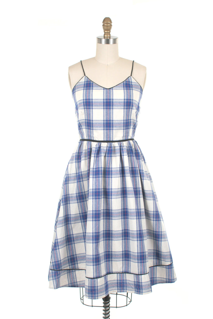 Lani Plaid Dress in Blue/Ivory - last size S!