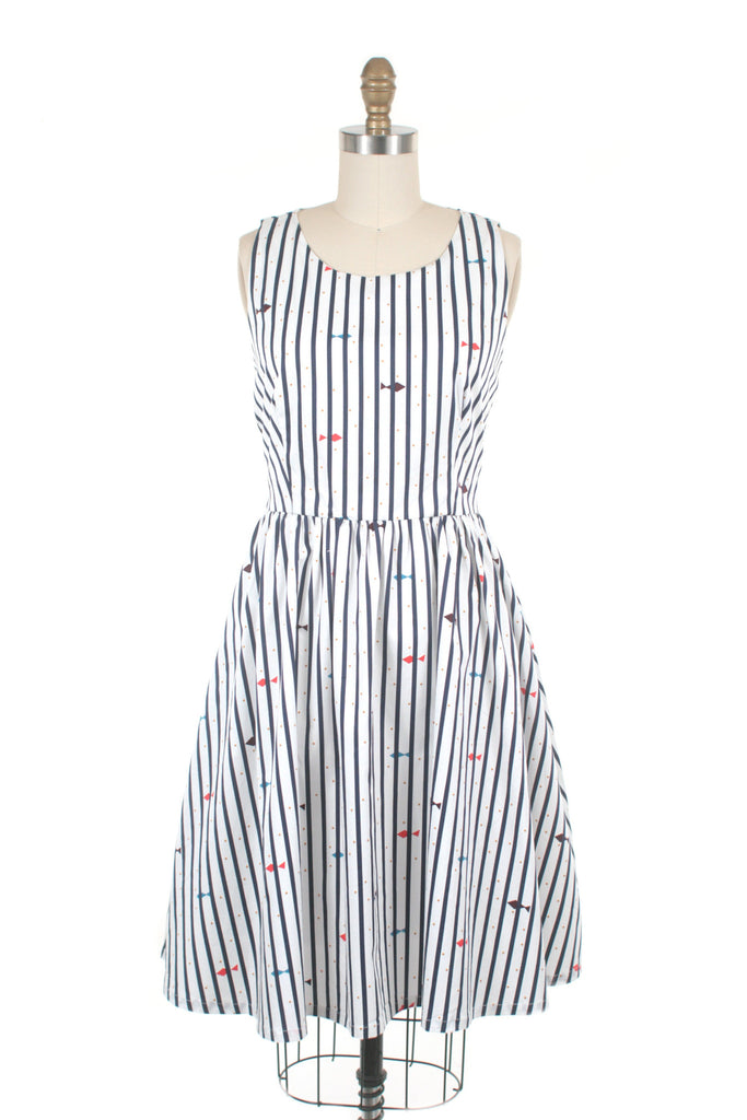 Aquatic Stripe Dress in Blue/White