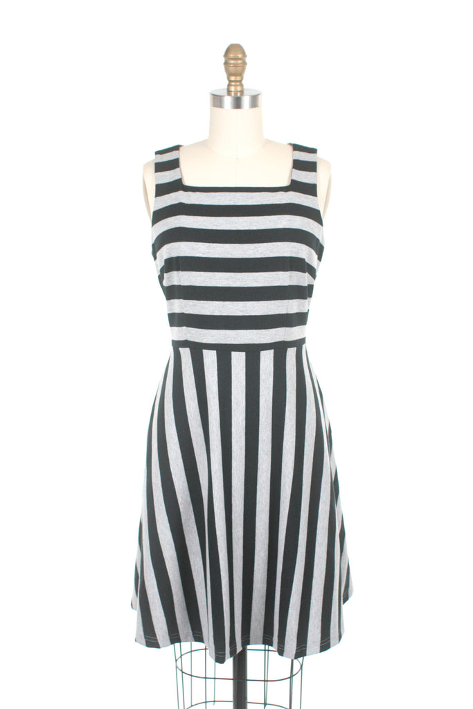 Sol Stripe Jersey Dress in Black/Grey