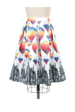 Balloon Skirt in White Multi