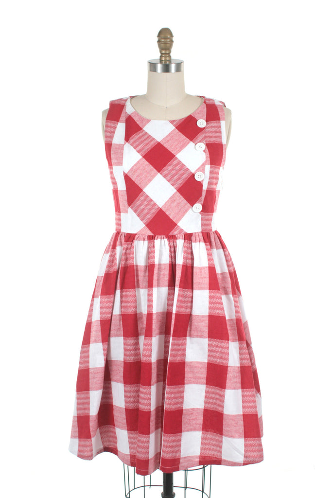 Gingham Dress in Black Red