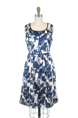 Cat Dress in Blue and Cream
