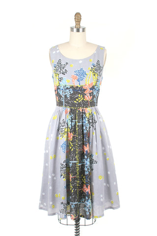 Border Print Dress in Grey