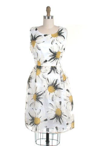 Daisy Dress in White/Grey