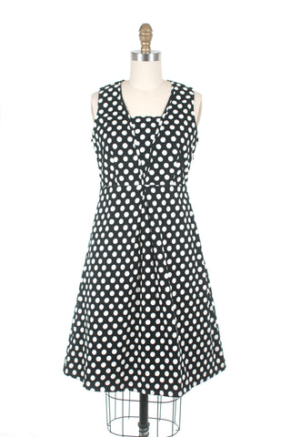 Cord Dot Dress in Black/White