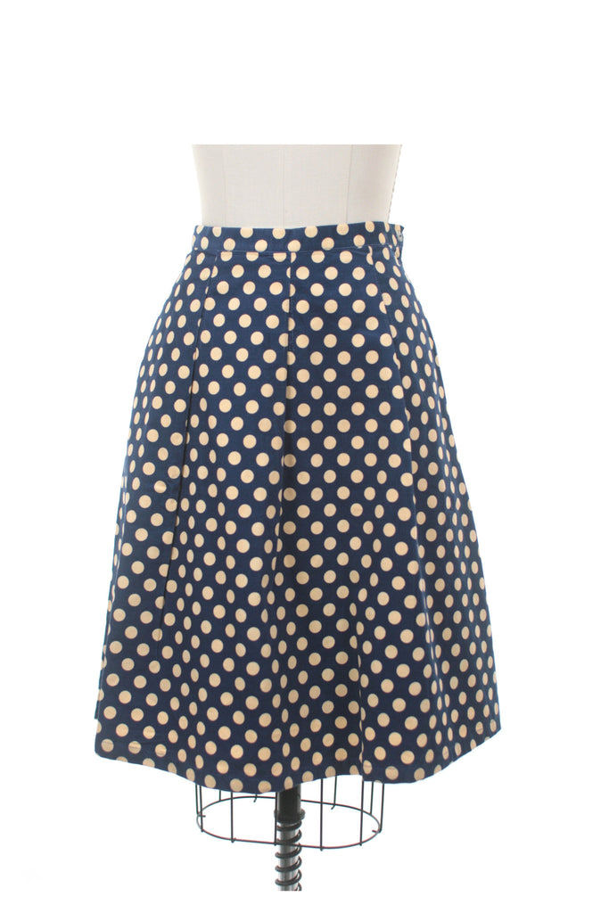 Cord Dot Skirt in Navy