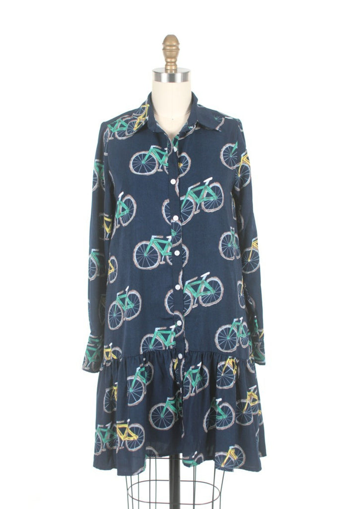 Bike Shirt Dress in Navy