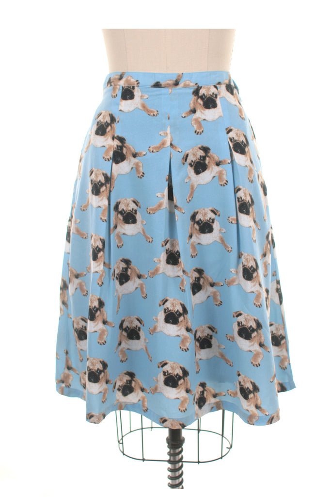 Pug Dog Skirt in Blue - last size S!