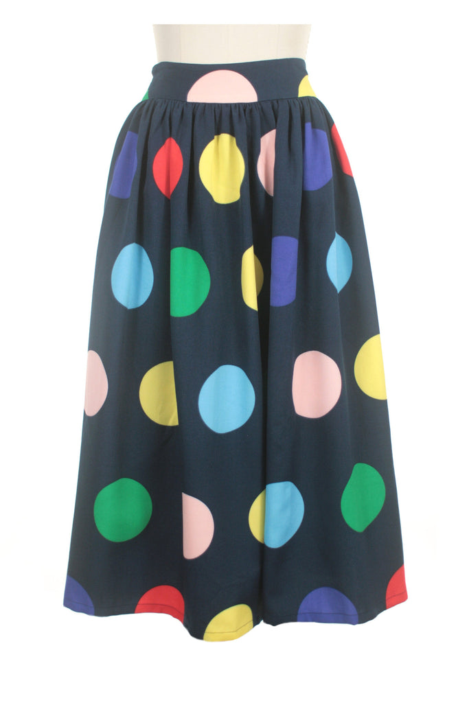 Big Dot Midi Skirt in Navy