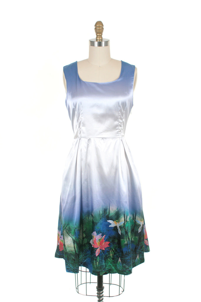 frock shop satin lily print blue dress frockshop
