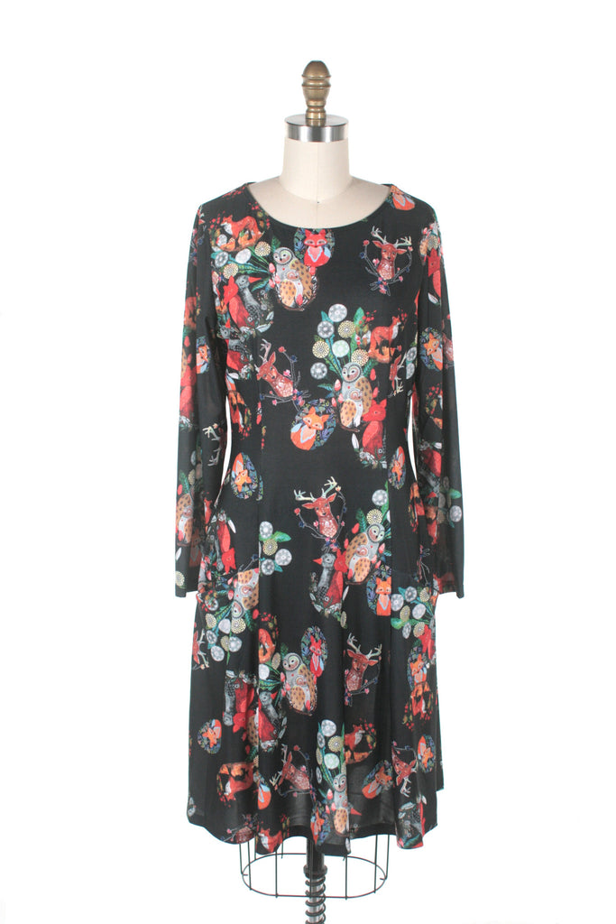 Fox & Owl Dress in Black - PLUS SIZE Only!