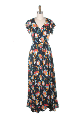 frock shop everlove maxi flower dress navy frockshop
