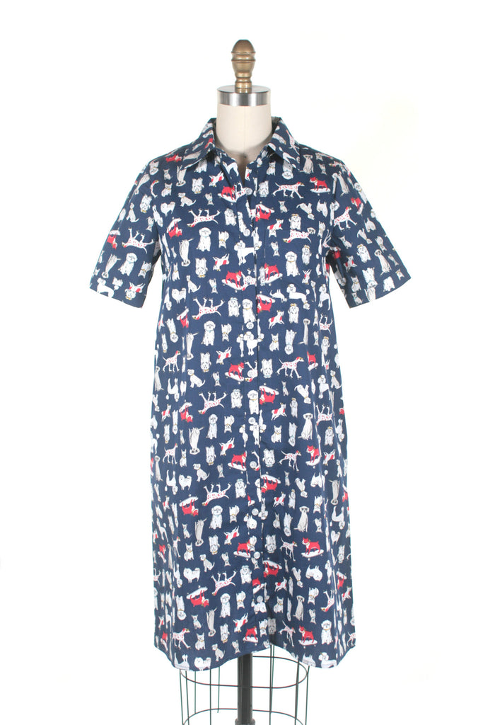 Dog Shirt Dress in Navy