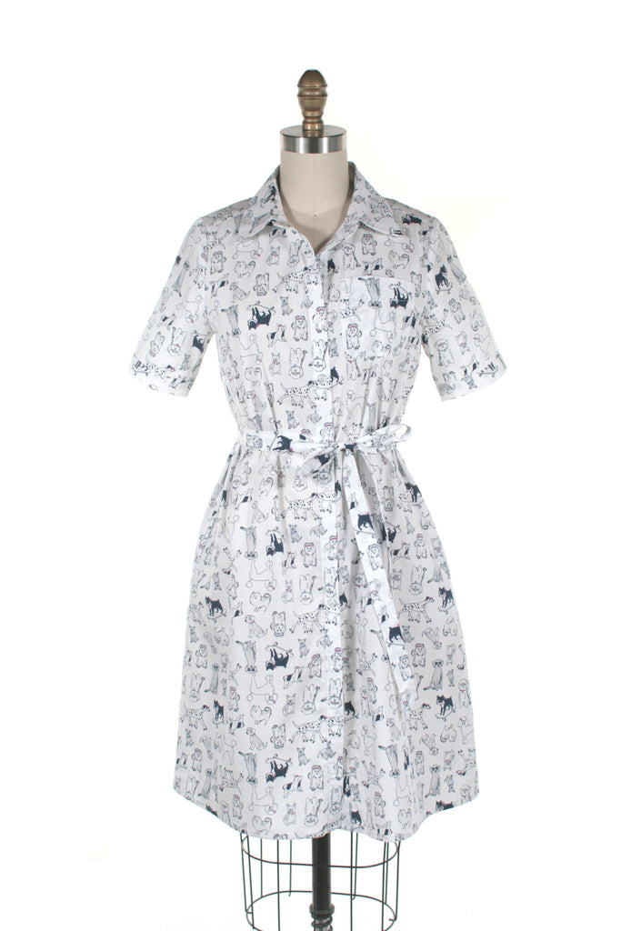 Dog Shirt Dress in White - Last one!
