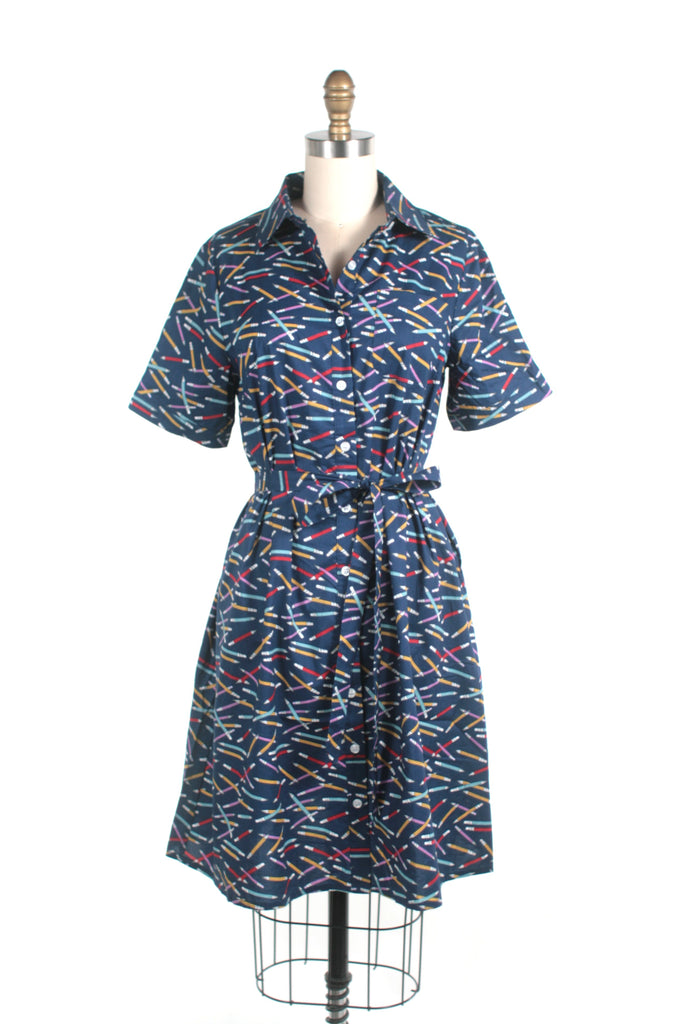 Pencil A-line Shirtdress in Navy