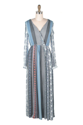 Cutout Maxi Dress in Blue Multi