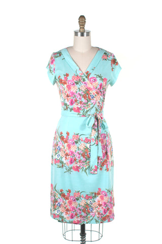 Garland Wrap Dress in Aqua