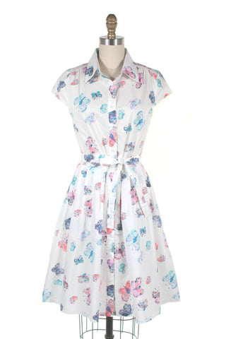 Butterfly Shirtdress in White